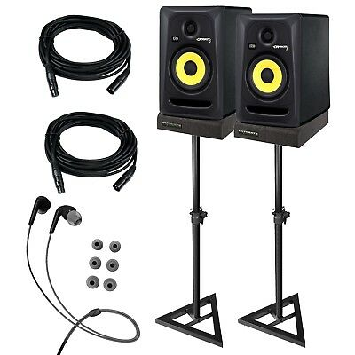 "KRK RP5G3 ROKIT 5 G3 5"" Studio Monitor Speaker Pair + Stands + Cables + Pads"