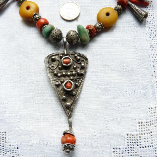 Antique Moroccan Amber and Coral Necklace, Moroccan Silver Fibula