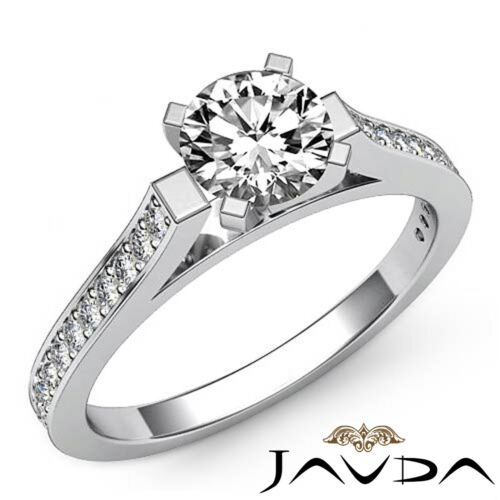 Women's Ideal Round Diamond Engagement Pave Ring GIA F SI1 14k White Gold 1.75ct