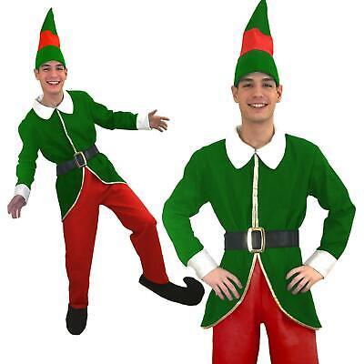 mens Christmas Elf Santas Little Helper Fancy Dress Boys Xmas Costume Outfit