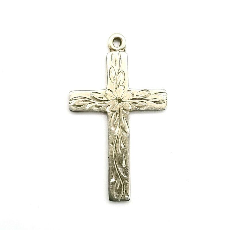 Vintage 1/20 12K GF Bab Signed Gold Filled Etched Cross Pendant