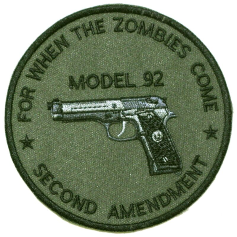 Model 92 9mm US Military/LAPD Iron on Patch/Crest/Applique second amendment