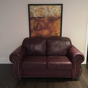 Leather 4 piece 6 seat couch set with footrest
