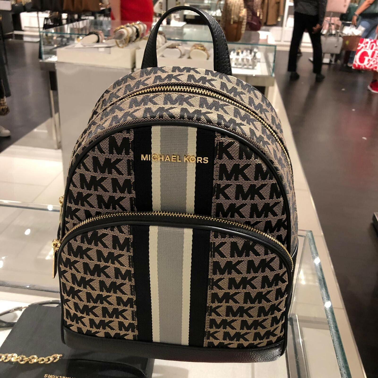 Michael Kors Womens Medium Leather Canvas Travel Backpack Sc