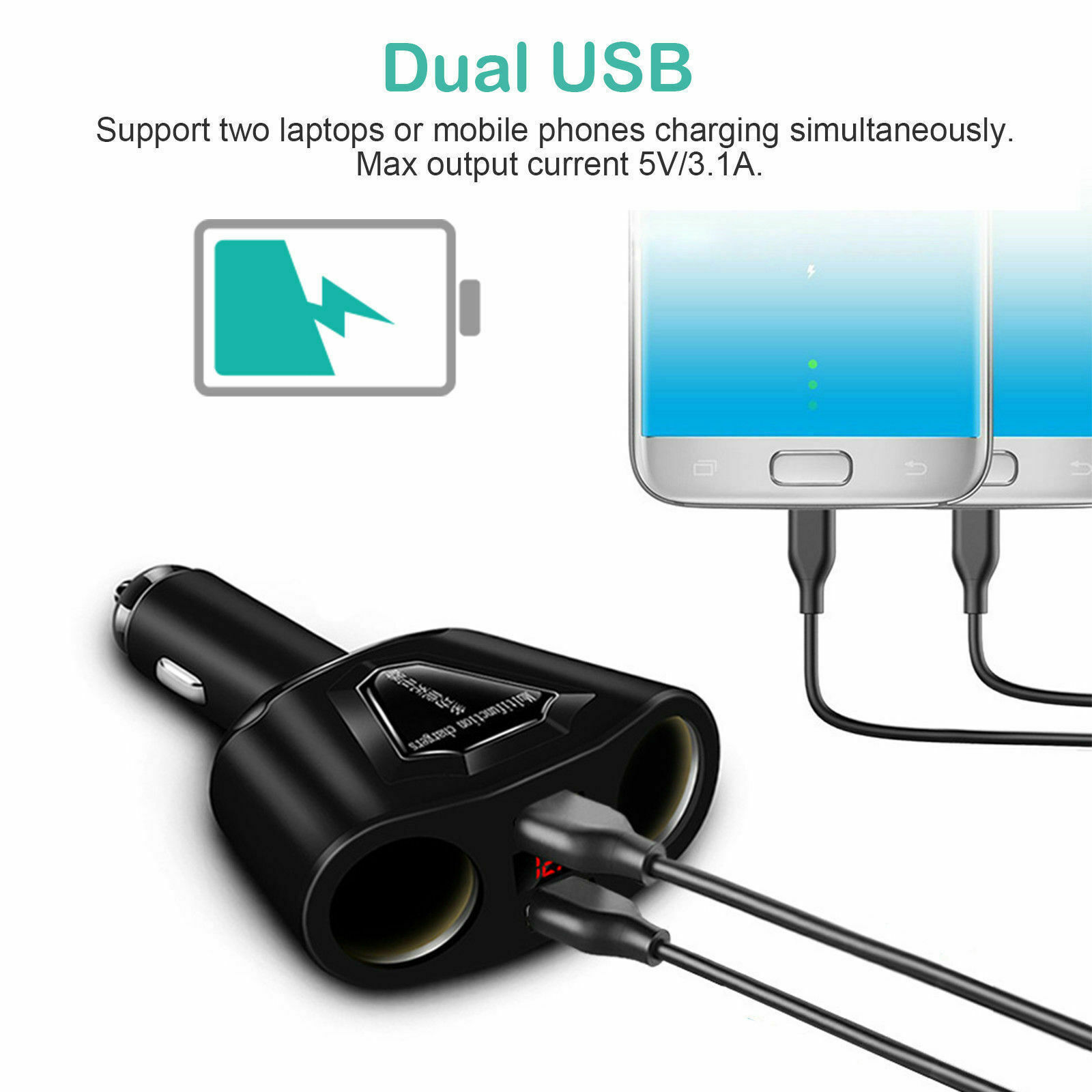 Car LCD Cigarette Lighter Socket Splitter Dual USB Charger Power Adapter DC 12V Car Electronics Accessories