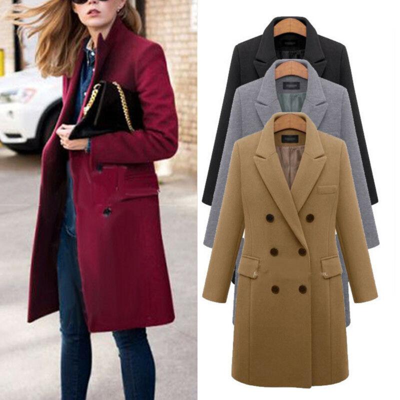 Plus Size Women Wool Lapel Long Duster Jacket Trench Winter