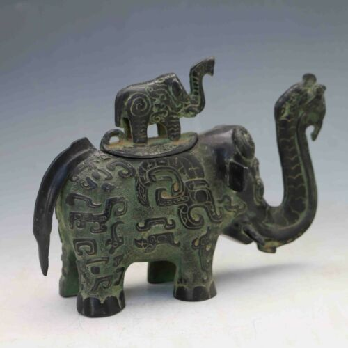 Collectible Chinese Bronze Handwork Carved Elephant teapot /& Lid