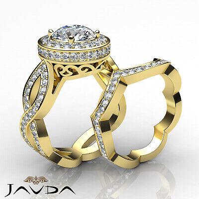 Cross Shank Circa Halo Round Diamond Engagement Pave Set Ring GIA I SI1 2.8 Ct 7