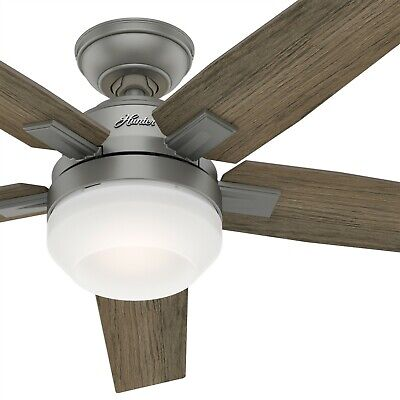 Hunter Fan 52 inch Contemporary Matte Silver Ceiling Fan with Light and Remote