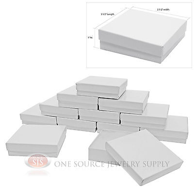 (12 Gloss White Cotton Filled Gift Boxes 3 1/2
