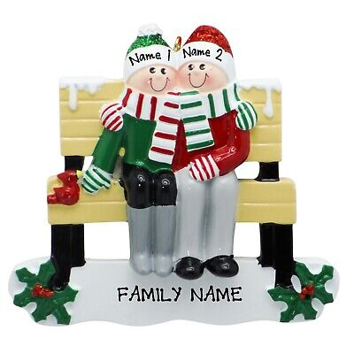 [NAME PERSONALIZED Park Bench Family of 2 Christmas Tree Ornament Holiday Gift</Title]