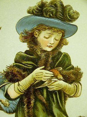 Edwards VICTORIAN GIRL HOLDING SICK BIRD c1880 Veterinarian Medical Print Matted