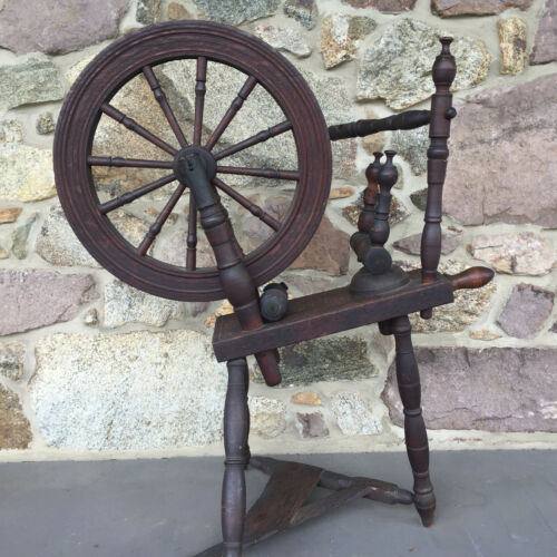 Antique Spinning Wheel - Dark Oak - Signed