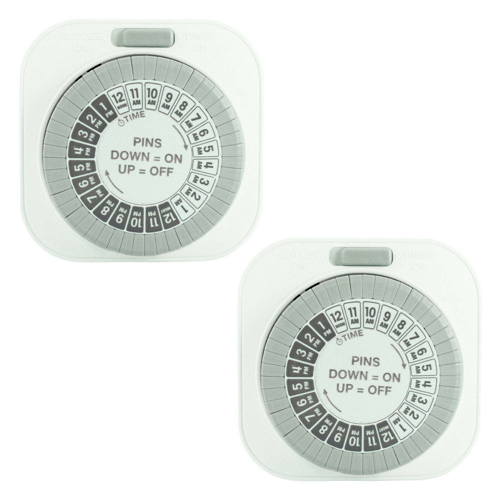 2 Pack of 24 Hour Daily Mechanical Outlet Light Timers, Automatic Hydroponics 15 Electrical Outlets, Switches & Accessories
