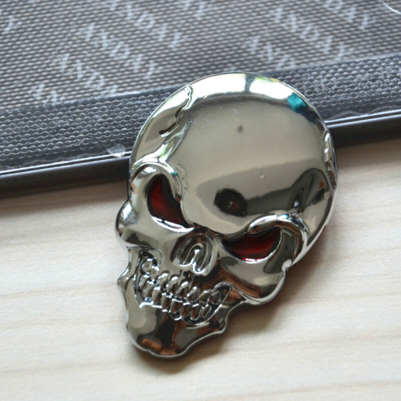 2 Pcs Car Body Side Rearview Mirror Cover 3D Skull 3M Sticker Metal Emblem Badge