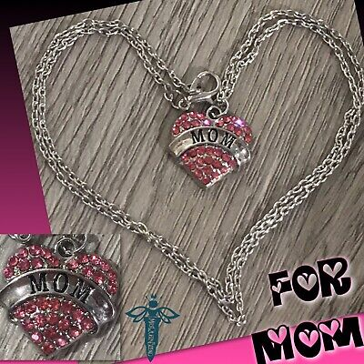 """1 20"""" Silver Necklace With Pink Heart Rhinestone Pendant That Says 💘 MOM 💘 Mom Pink Heart"""