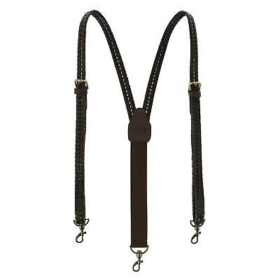 New CTM Men's Coated Leather Flat Braided Suspenders with Me