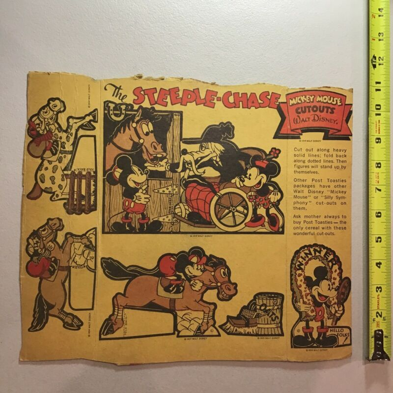 1934 Mickey Mouse Steeple-Chase Walt Disney Post Toasties Cereal Box Cutouts