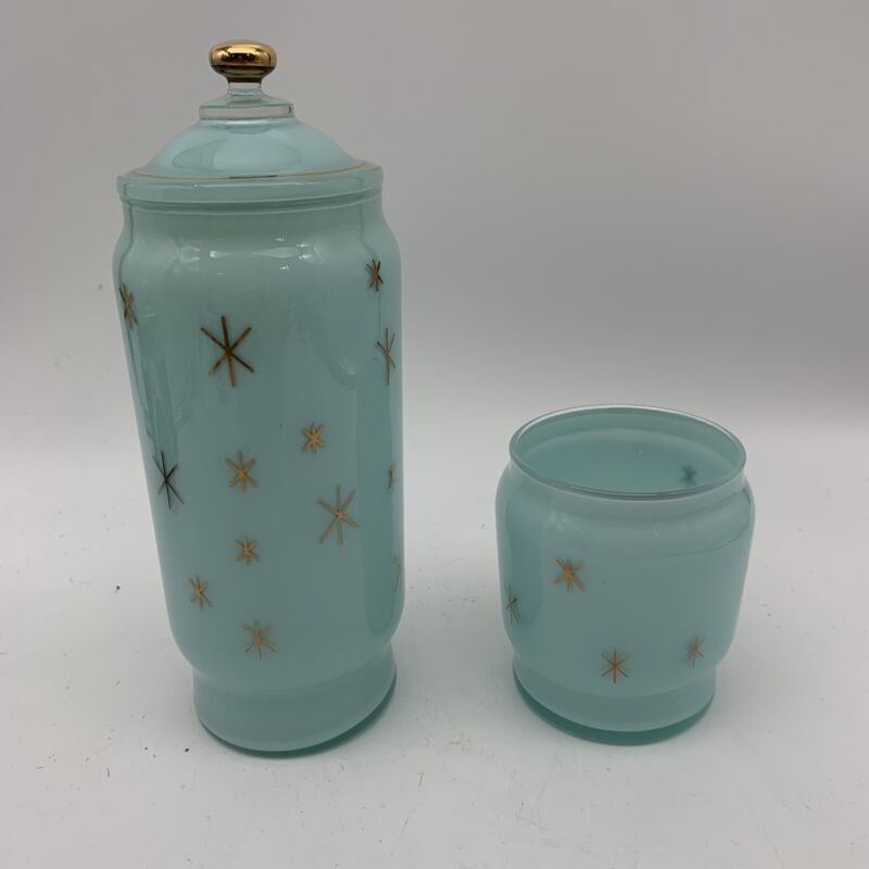Mid-century Retro Repop Glass Sky Blue Atomic Stars Contains One Lid Fits Both