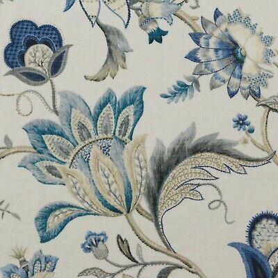 P KAUFMANN BRISSAC BLUE JACOBEAN FLORAL VINE LINEN MULTIUSE FABRIC BY YARD (Jacobean Vine)