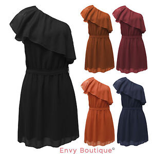 NEW-LADIES-CHIFFON-ONE-SHOULDER-RUFFLE-DRESS-TOP-8-14
