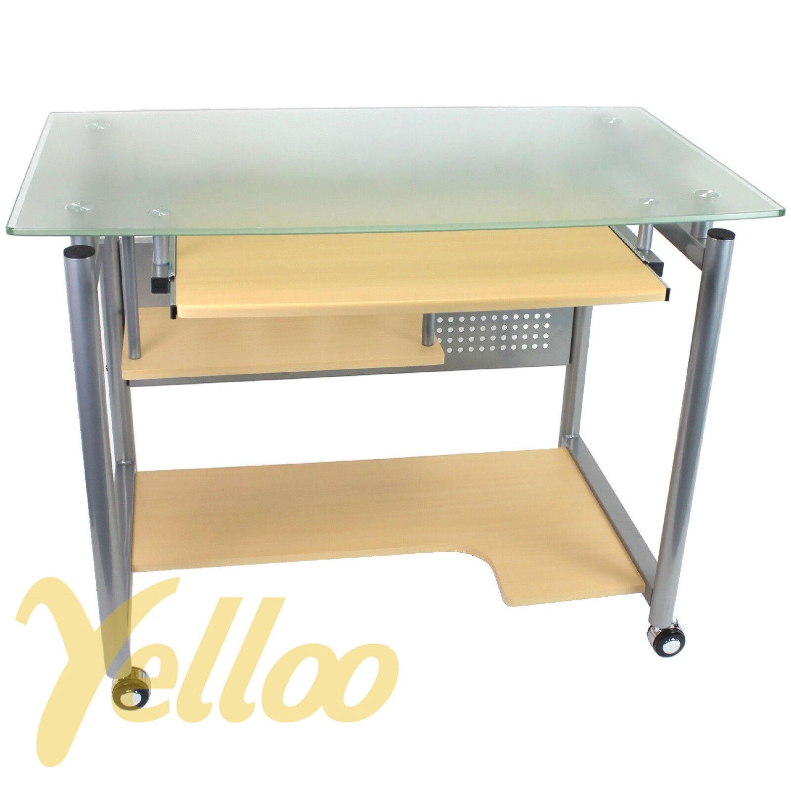 Tavolo scrivania design postazione ufficio vetro con ruote for Design ufficio scrivania