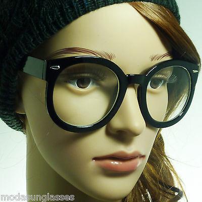 RETRO Oversized Round Thick Nerd Circle Bold Geek Frame Clear Lens Eye (Oversized Circle Glasses)