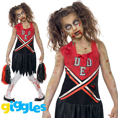 Girls Zombie Cheerleader Costume Cheerless Monster Halloween Fancy Dress Outfit