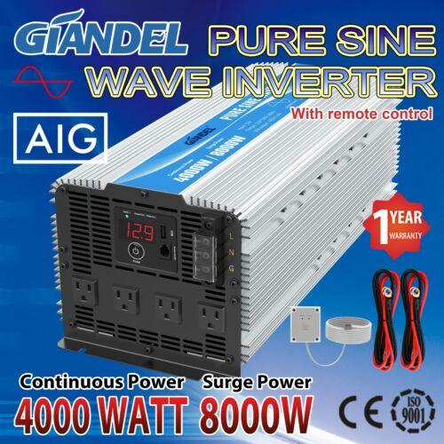 Power Inverter Pure Sine Wave 4000W 12V to 110V-120V 4.5m Remote USA Transistors