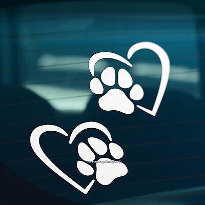 2x DOG PAW PRINT HEART Pet Car,Van,Window,Bumper Vinyl Sign Decal Stickers