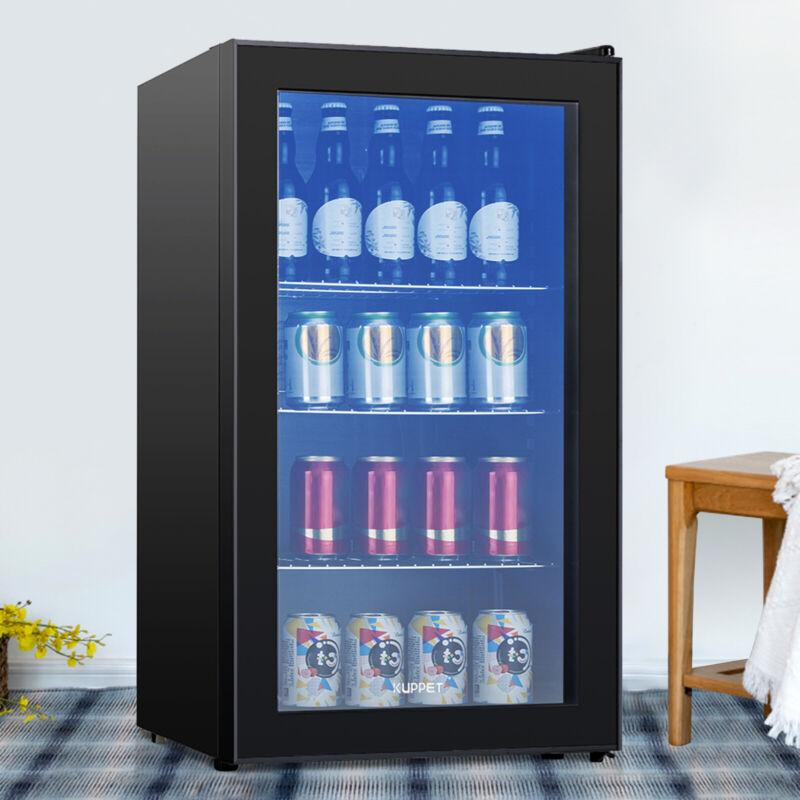 120 Can Mini Fridge Cooler 3.1 Cu.Ft.  Beverage Beer Soda Bar Glass Door Black