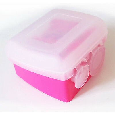 Royal Pink Duo Double Cosmetic Pencil Sharpener, Lid, Eye Lip Brow, Small, Large