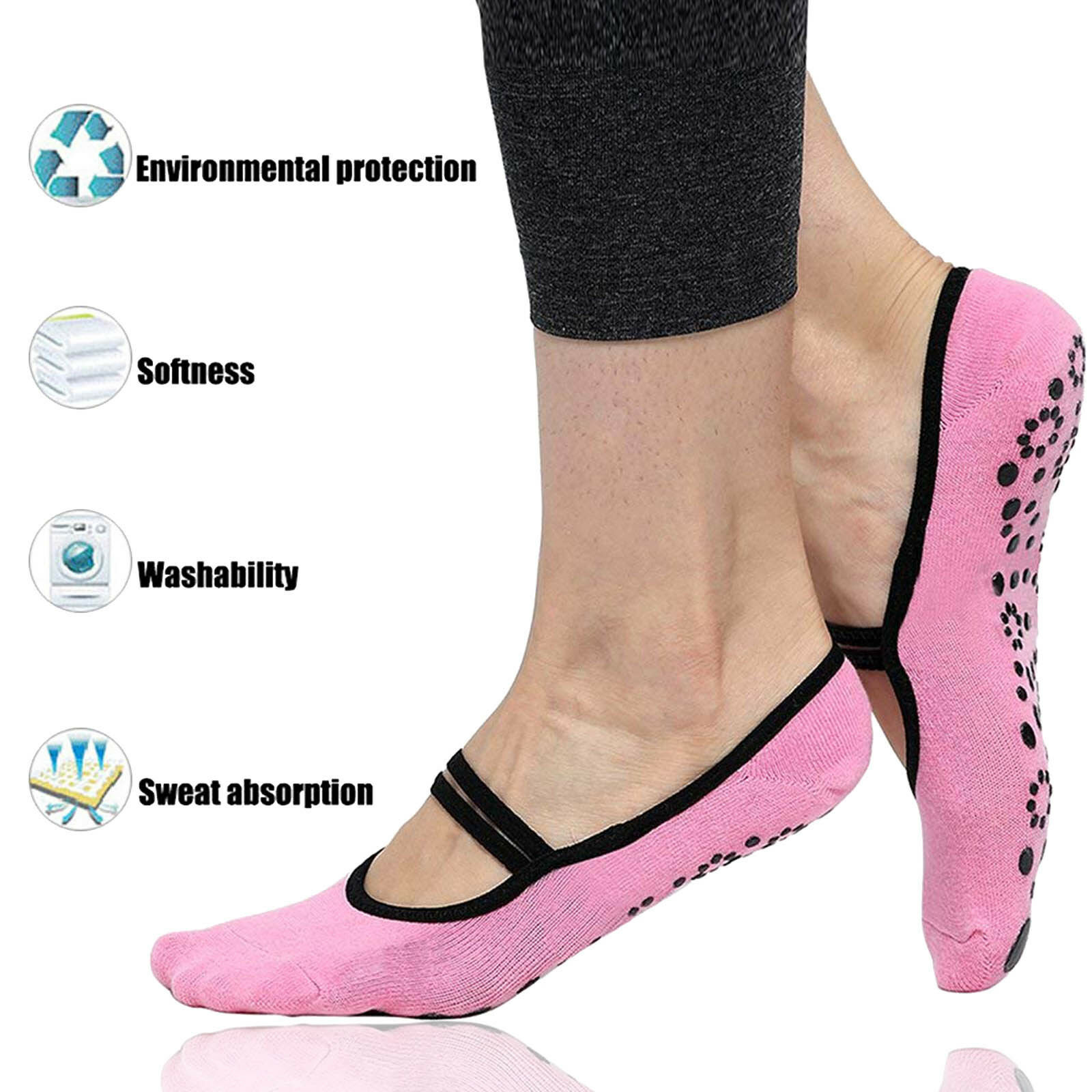 Soft Yoga Socks for Women Non Skid Socks with Grips Barre So
