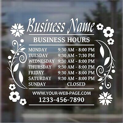 Custom Business Hours Open Hours Front Door Window Vinyl Decal Bh1