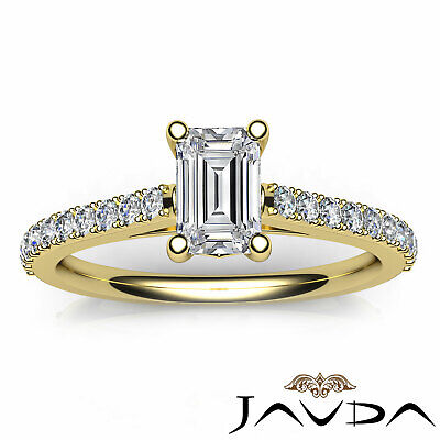 Double Prong Emerald Natural Diamond Engagement White Gold Ring GIA F VS2 0.80Ct 10