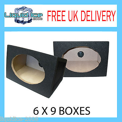 """MOTORHOME PAIR OF CARPETED 6""""x9"""" BLACK BOXS BASS SPEAKER BOXE ENCLOSURES 18MM"""