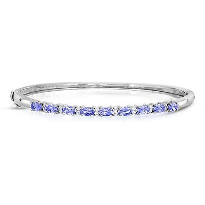 2-1/3 Cttw Oval Tanzanite and White Topaz Bangle In Sterling  Silver