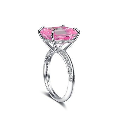 Emerald Cut CZ Ring Cocktail Gemstone Ring 14K White Gold Plated Brass Brass Gold Plated Ring