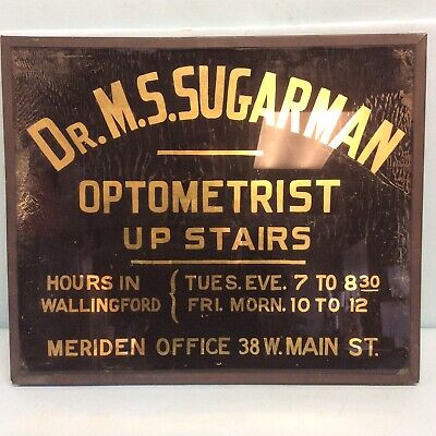 Advertising Sign Optometrist Reverse Painting On Glass Copper Frame