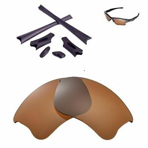 New WL Polarized Brown Lenses And Black Rubber Kit For Oakley Flak Jacket XLJ