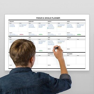 28 Erasable Wall (Erasable Wall Goals-Focus-Results Planner // 17-Inch-by -28-Inch - White )
