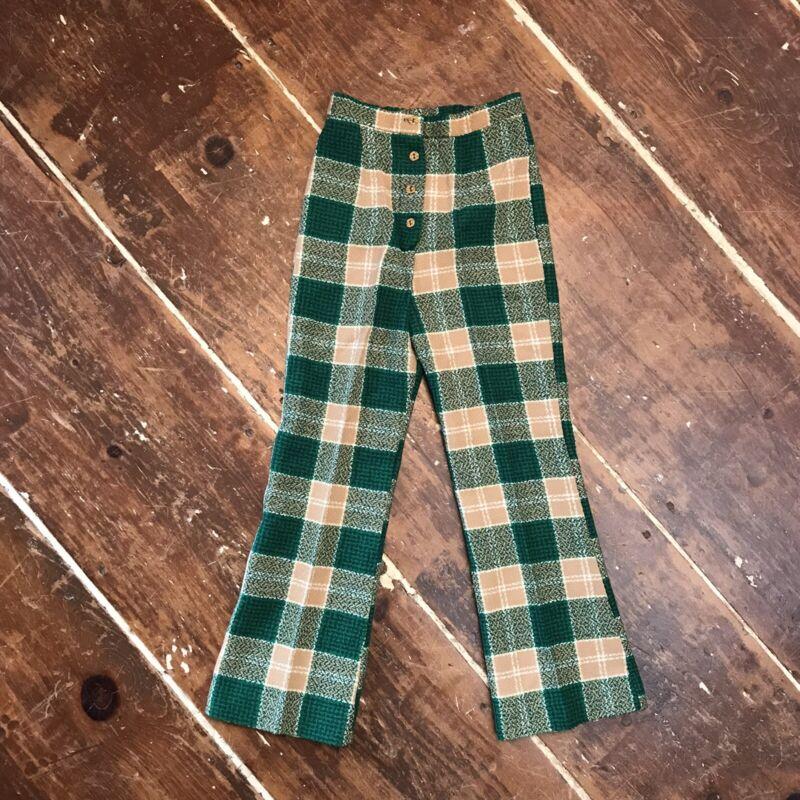 Vintage 70s Plaid Flare Boot Cut Pants Girls 22x23 Russ Girl Hippie Boho