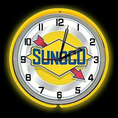"""19"""" Sunoco Oil Vintage Sign Double Yellow Neon Clock Gasoline Gas Man Cave"""