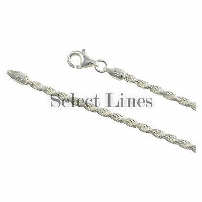 Sterling Silver Diamond Cut Rope 3mm Bracelet Anklet Necklace Chain Italian .925 3mm Silver Diamond Cut Bracelet