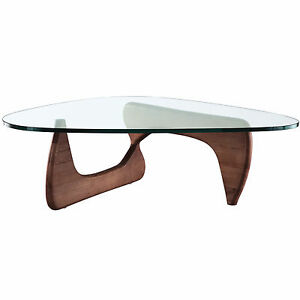 Noguchi Style Coffee Table In Walnut Isamu Triangle Wood Base