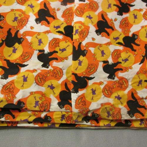 Vtg Halloween Fabric Material Cats Jack O Lanterns Witches Candy Corn 5.6 yards