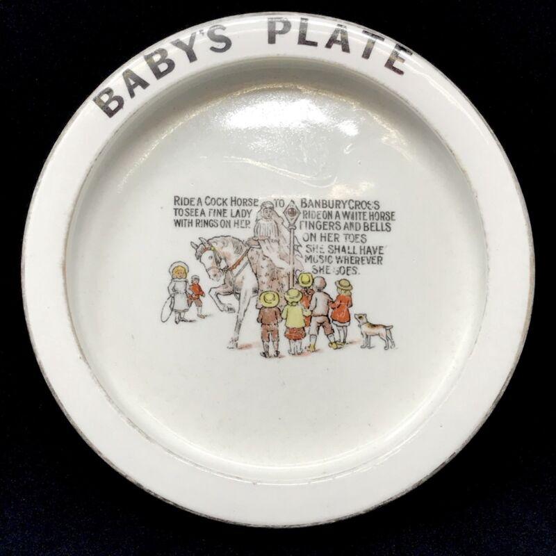 Antique Carlton Ware Baby's Plate Weighted Banbury Cross Bone China c 1920s