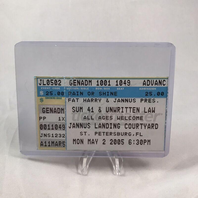 Sum 41 Unwritten Law Jannus Landing Courtyard FL Concert Ticket Stub May 2 2005
