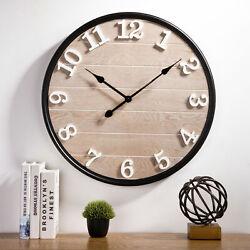 Glitzhome 23.6 Farmhouse Wall Mount Clock Large Wood Art Home Office Decor New