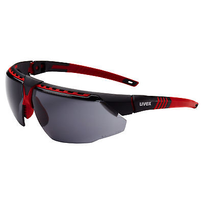 Uvex Avatar Safety Glasses With Smoke Anti-fog Lens Red Frame